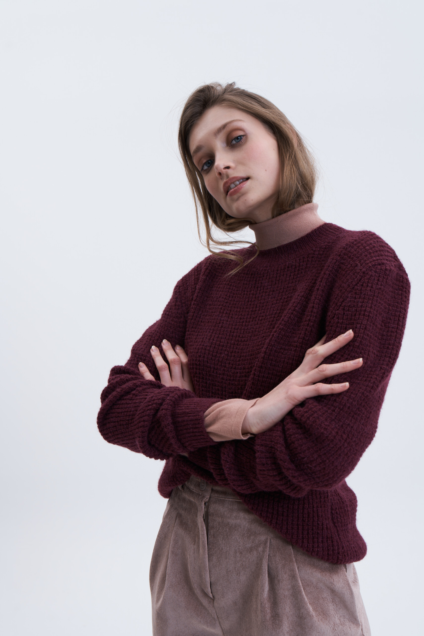 AJOURSTRICK PULLOVER - BEERE